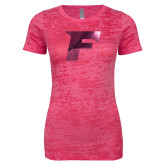 Next Level Ladies Junior Fit Fuchsia Burnout Tee-F Foil