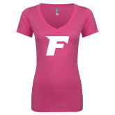 Next Level Ladies Junior Fit Ideal V Pink Tee-F