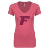 Next Level Ladies Vintage Pink Tri Blend V-Neck Tee-F Hot Pink Glitter