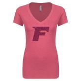 Next Level Ladies Vintage Pink Tri Blend V-Neck Tee-F Hot Pink Glitter