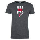 Ladies Dark Heather T Shirt-Fear the Stag Distressed