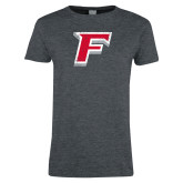 Ladies Dark Heather T Shirt-F Distressed