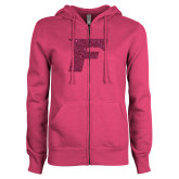 ENZA Ladies Fuchsia Fleece Full Zip Hoodie-F Hot Pink Glitter