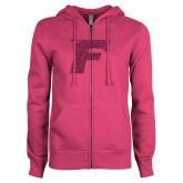 ENZA Ladies Fuchsia Fleece Full Zip Hoodie-F Hot Pink Glitter