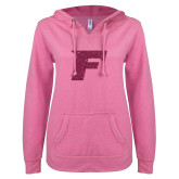 ENZA Ladies Hot Pink V-Notch Raw Edge Fleece Hoodie-Official Logo Hot Pink Glitter