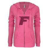 ENZA Ladies Hot Pink Light Weight Fleece Full Zip Hoodie-F Hot Pink Glitter
