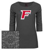 Ladies Charcoal Heather Tri Blend Lace 3/4 Sleeve Tee-F