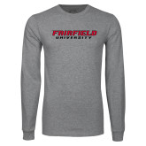 Grey Long Sleeve T Shirt-Fairfield University Stacked