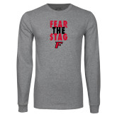 Grey Long Sleeve T Shirt-Fear the Stag Distressed