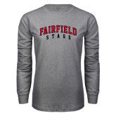 Grey Long Sleeve T Shirt-Fairfield Stags Stacked
