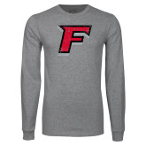 Grey Long Sleeve T Shirt-F Distressed