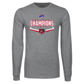 Grey Long Sleeve T Shirt-2017 MAAC Softball Champions - Plate