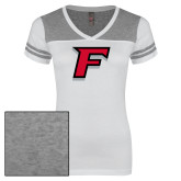 Ladies White/Heathered Nickel Juniors Varsity V Neck Tee-F