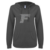 ENZA Ladies Dark Heather V-Notch Raw Edge Fleece Hoodie-Official Logo Graphite Glitter