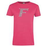 Ladies Fuchsia T Shirt-Rhinestone F