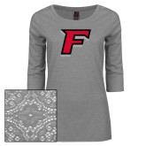 Ladies Grey Heather Tri Blend Lace 3/4 Sleeve Tee-F