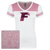Ladies White/Bright Pink Juniors Varsity V Neck Tee-F Foil