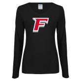 Ladies Black Long Sleeve V Neck T Shirt-F