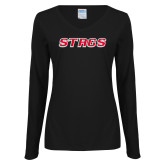 Ladies Black Long Sleeve V Neck Tee-Stags