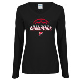 Ladies Black Long Sleeve V Neck T Shirt-2017 Mens Soccer Champions