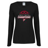Ladies Black Long Sleeve V Neck T Shirt-2017 Mens Soccer Champions