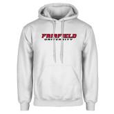 White Fleece Hood-Fairfield University Stacked