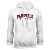 White Fleece Hood-Fairfield Stags Stacked