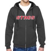 Charcoal Fleece Full Zip Hood-Official Logo