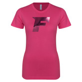 Ladies SoftStyle Junior Fitted Fuchsia Tee-F Foil