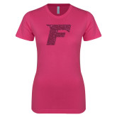 Ladies SoftStyle Junior Fitted Fuchsia Tee-F Hot Pink Glitter