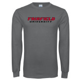 Charcoal Long Sleeve T Shirt-Fairfield University Stacked
