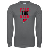Charcoal Long Sleeve T Shirt-Fear the Stag Distressed
