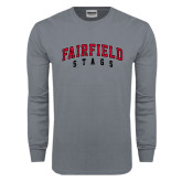 Charcoal Long Sleeve T Shirt-Fairfield Stags Stacked