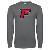 Charcoal Long Sleeve T Shirt-Official Logo Distressed