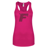 Next Level Ladies Raspberry Ideal Racerback Tank-F Hot Pink Glitter