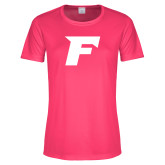 Ladies Performance Hot Pink Tee-F