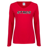 Ladies Red Long Sleeve V Neck Tee-Stags