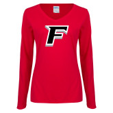 Ladies Red Long Sleeve V Neck T Shirt-F