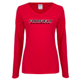Ladies Red Long Sleeve V Neck Tee-Fairfield University Stacked