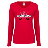 Ladies Red Long Sleeve V Neck Tee-2017 Field Hockey Champions