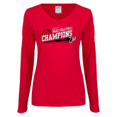 Ladies Red Long Sleeve V Neck T Shirt-2017 Volleyball Champions