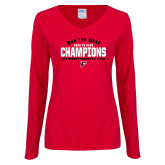 Ladies Red Long Sleeve V Neck Tee-2019 Womens Swimming Won the MAAC