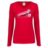 Ladies Red Long Sleeve V Neck Tee-2019 Womens Tennis Conference Champions