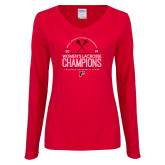 Ladies Red Long Sleeve V Neck Tee-2019 Womens Lacrosse Champions