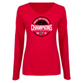 Ladies Red Long Sleeve V Neck Tee-2019 Volleyball Champions
