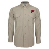 Khaki Long Sleeve Performance Fishing Shirt-F