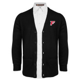 Black V Neck Cardigan w/Pockets-F