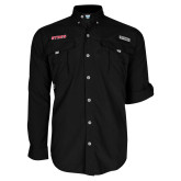 Columbia Bahama II Black Long Sleeve Shirt-Stags
