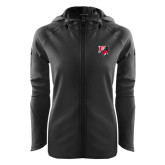Ladies Tech Fleece Full Zip Black Hooded Jacket-Official Logo