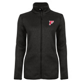 Black Heather Ladies Fleece Jacket-F